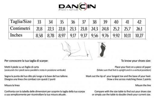 dancin dance shoes measures