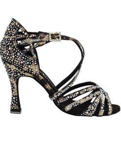 pantofi dans cristale satin leopard