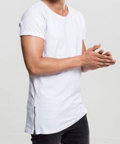 tricou alb lung barbati fermoare