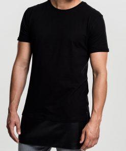 tricou lung barbati insertie piele si fermoare urban