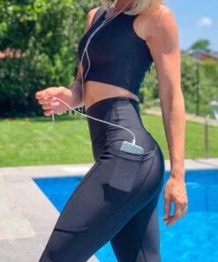 colanti cu buzunare laterale fitness negru